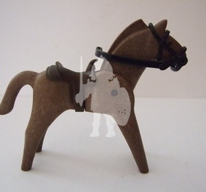 Playmobil Caballo marrón antiguo con silla del oeste